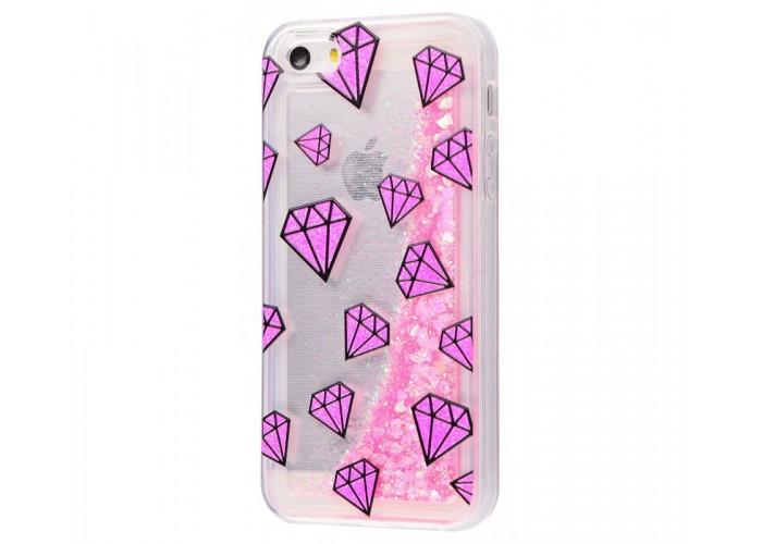 Чехол для iPhone 5/5s/SE блестки вода New розовый рубин