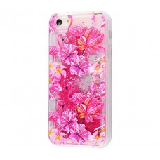 Чехол для iPhone 5/5s/SE блестки вода New розовый фламинго