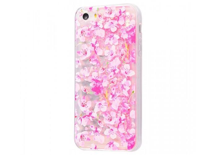 Чехол для iPhone 5/5s/SE блестки вода New розовый цветы