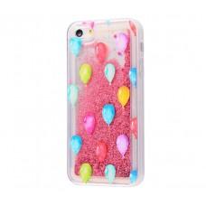 Чехол для iPhone 5/5s/SE блестки вода New розовый шарики