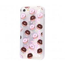Чехол для iPhone 5/5s/SE блестки вода New пончики