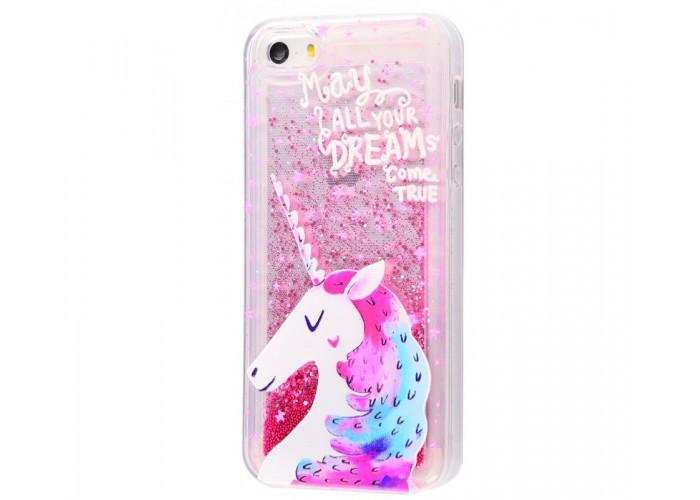 Чехол для iPhone 5/5s/SE блестки вода New розовый единорог
