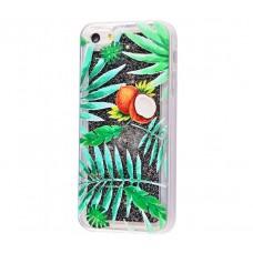 Чехол для iPhone 5/5s/SE блестки вода New зеленый кокос