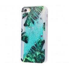 Чехол для iPhone 5/5s/SE блестки вода New зеленый лист