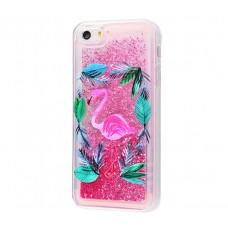 Чехол для iPhone 5/5s/SE блестки вода New ярко-розовый фламинго
