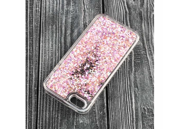 Чехол для iPhone 5/5s/SE блестки вода сиреневый