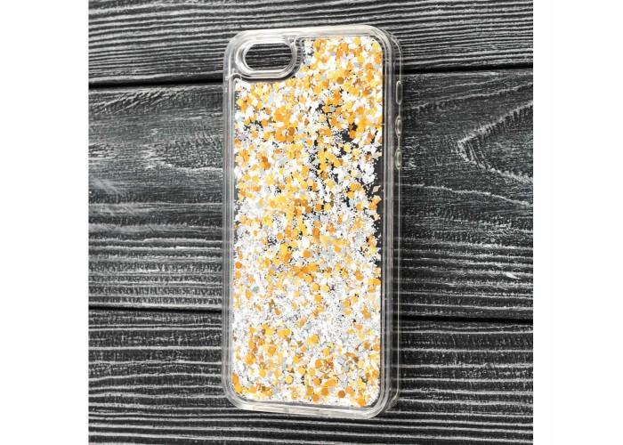 Чехол для iPhone 5/5s/SE блестки вода золотистый