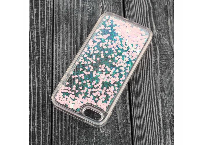 Чехол для iPhone 5/5s/SE блестки вода розовый