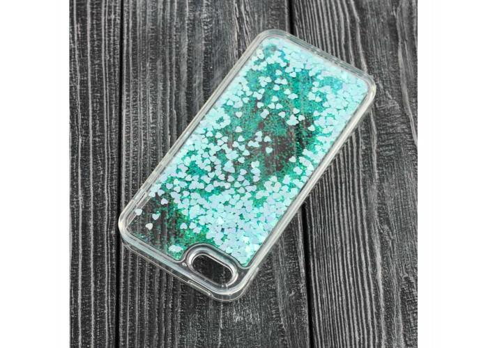 Чехол для iPhone 5/5s/SE блестки вода голубой