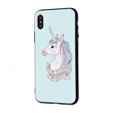 Чехол для iPhone X / Xs Единорог белый