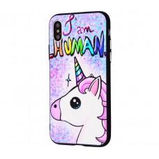 Чехол для iPhone X / Xs Единорог I Am Human