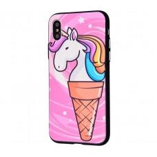 Чехол для iPhone X / Xs Единорог мороженое