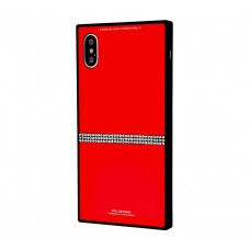 Чехол для iPhone X / Xs White Knight Pictures Swarovski Line красный