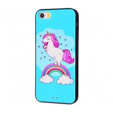 Чехол для iPhone 5/5s/SE Единорог радуга