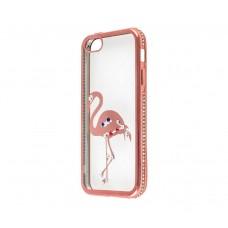 Чехол для iPhone 5/5s/SE Kingxbar Diamond Фламинго розовый