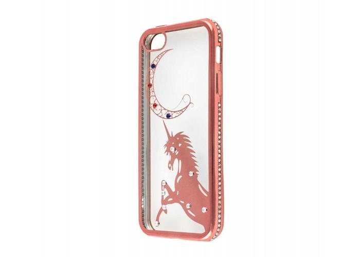Чехол для iPhone 5/5s/SE Kingxbar Diamond Единорог розовый