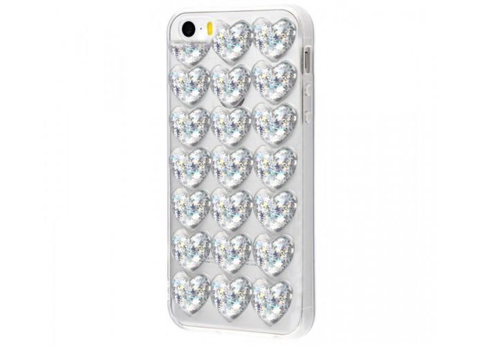 Чехол для iPhone 5/5s/SE Confetti Heart серебристый