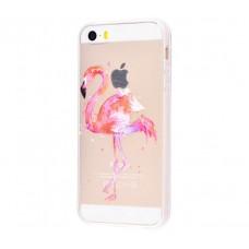 Чехол для iPhone 5/5s/SE фламинго маслом