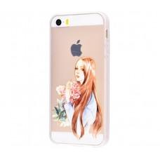 Чехол для iPhone 5/5s/SE девушка с цветами