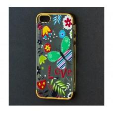 Чехол для iPhone 5/5s/SE с золотистыми бортами Love