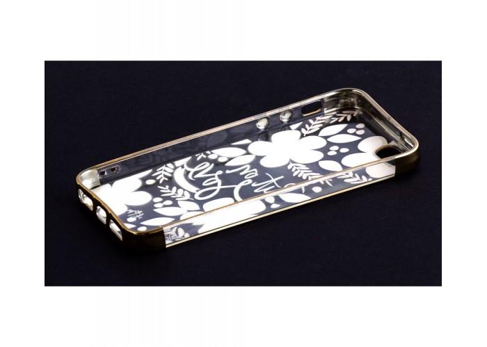 Чехол для iPhone 5/5s/SE с золотистыми бортами Put On Love