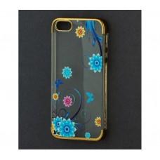 Чехол для iPhone 5/5s/SE с золотистыми бортами Flowers