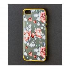 Чехол для iPhone 5/5s/SE с золотистыми бортами Roses