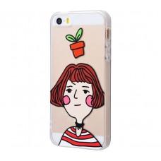 Чехол для iPhone 5/5s/SE Girl And Flowerpot