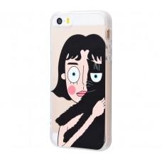 Чехол для iPhone 5/5s/SE Girl And Cat