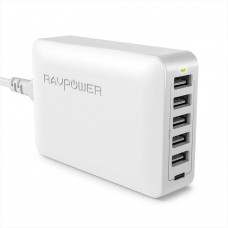Зарядное устройство RAVPower 60W 12A 6-Port USB Desktop Charging Station with iSmart Technology, White RP-PC028WH