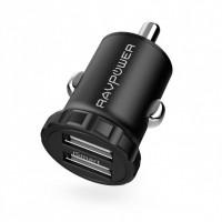 Автомобильное зарядное устройство RAVPower Mini Dual USB Car Charger 24W 4.8A with iSmart 2.0 Charging Tech RP-PC031