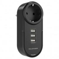 Зарядное устройство RAVPower Power Strip 4-in-1 Mini Surge Protector (1 AC Outlet + 3 USB Ports) iSmart 2.0, Black RP-PC003BK