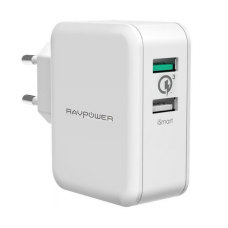 Зарядное устройство RAVPower USB Qualcomm Quick Charge 3.0 (4X Faster) 30W Dual USB Plug Wall Charger, White RP-PC006WH