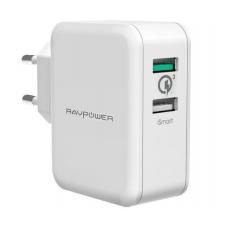 Зарядное устройство RAVPower USB Qualcomm Quick Charge 3.0 (4X Faster) 30W Dual USB Plug Wall Charger, White RP-PC006WH