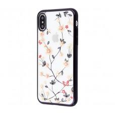 Чехол для iPhone X / Xs Dimond Flowers черный