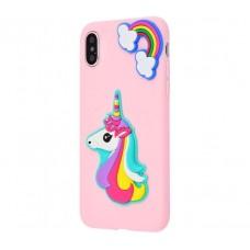 Чехол для iPhone X / Xs Fairy Tale единорог розовый
