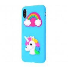 Чехол для iPhone X / Xs Fairy Tale единорог голубой