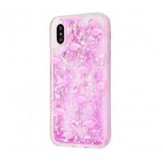 Чехол для iPhone X / Xs блестки вода светло-розовый фламинго