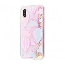 Чехол для iPhone X / Xs My Girl блестки вода розовый Воздушные шары