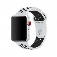 Силиконовый ремешок для Apple Watch 38/40/42/44мм Nike Sport Band Pure Platinum/Black