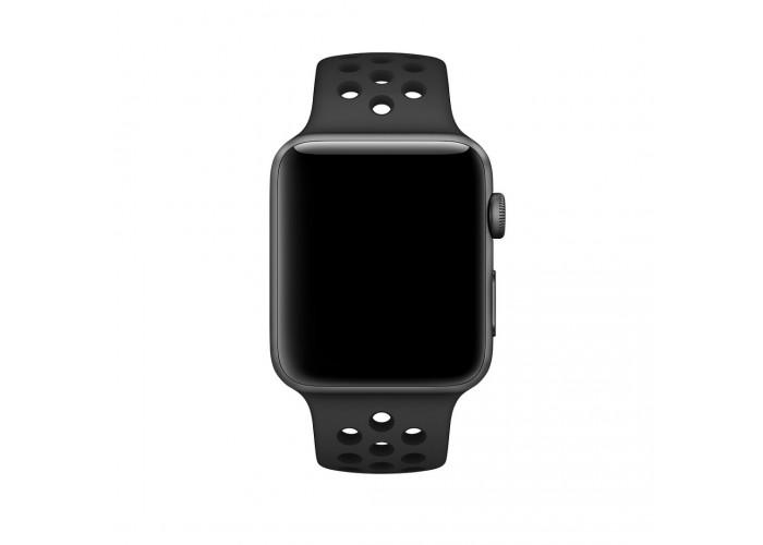 Силиконовый ремешок для Apple Watch 38/40/42/44мм Nike Sport Band Anthracite/Black
