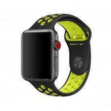 Силиконовый ремешок для Apple Watch 38/40/42/44мм Nike Sport Band Black/Volt