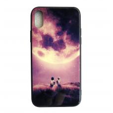 Чехол Glass Case для iPhone 6/7/8/7 Plus/8 Plus/X/Xs с рисунком детей смотрящих на луну