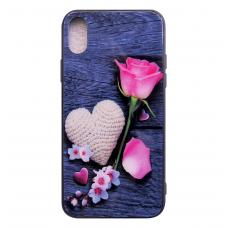 Чехол Glass Case для iPhone 6/7/8/7 Plus/8 Plus/X/Xs с рисунком цветка и сердца
