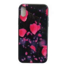 Чехол Glass Case для iPhone 6/7/8/7 Plus/8 Plus/X/Xs с рисунком лепестков
