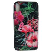 Чехол Glass Case для iPhone X с рисунком фламинго