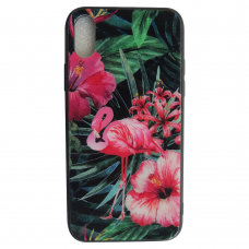 Чехол Glass Case для iPhone 6/7/8/7Plus/8Plus/X/ Xs с рисунком фламинго