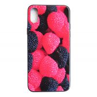 Чехол Glass Case для iPhone X с рисунком ягоды