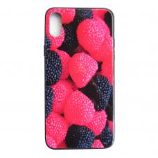 Чехол Glass Case для iPhone X / Xs с рисунком ягоды