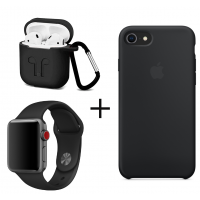Набор 3 в 1: Apple Silicone case, ремешок для Apple Watch и чехол для AirPods